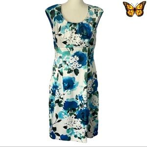 Connected Apparel Midi Length Floral Print Dress Size 8